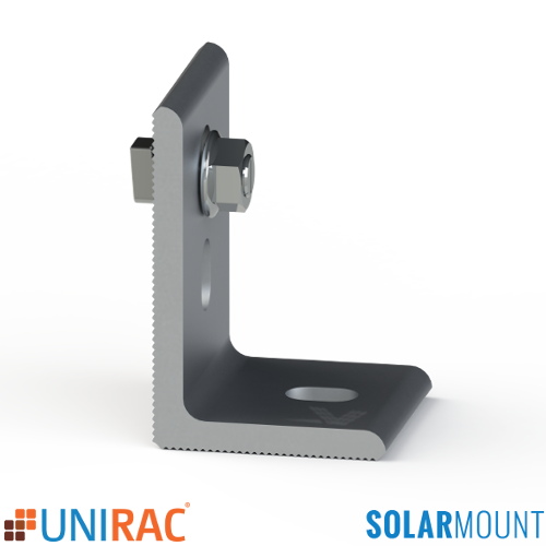 UNIRAC SolarMount Serrated L-Foot with T-Bolt Silver Clear Mill